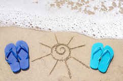 Summer background with flip flops Stock Images