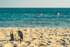 Summer background with flip flops on a sandy beach stock image