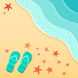 Summer background with flip flops on a sea beach with starfish shells. Stock Photo
