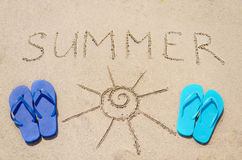 Summer background with flip flops. And sign Summer on the sandy beach stock image