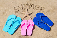 Summer background with flip flops Royalty Free Stock Image