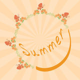 Summer vector background with floral frame Royalty Free Stock Photo
