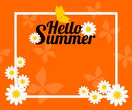 Summer background with flower and butterfly.  Vector illustration use for web banner, poster or flyer. Picture with copy space for text or product marketing Royalty Free Stock Images