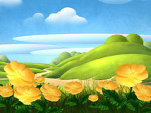Summer background with flowers. Mixed media illustration of a summer landscape with flowers Royalty Free Stock Photo