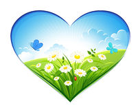 Summer background in the form of heart. Vector illustration royalty free illustration