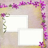 Summer background with frame and flowers. In scrap-booking style royalty free illustration