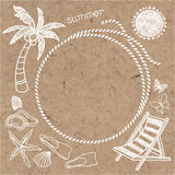 Summer background with frame. Vector hand drawn summer symbols o. Summer background with frame for text and various objects . Invitation, greeting card, elements Stock Image