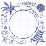 Summer background with frame. Vector hand drawn summer symbols. Royalty Free Stock Photography