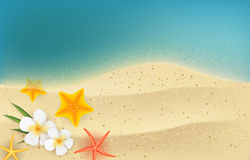 Summer background with frangipani flowers and starfishes Royalty Free Stock Photos