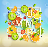 Summer background with fruits and berries. Summer background with tropical fruits and berries, square frame and the lettering summer. Vector illustration Royalty Free Stock Photo