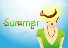 Summer background with girl Royalty Free Stock Images