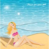 Summer background and girl Royalty Free Stock Images