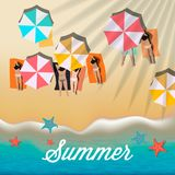 Summer background with girls tanning in the sun and umbrellas on the beach, vector illustration. Summer background with girls tanning in the sun and umbrellas Royalty Free Stock Photos