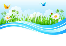 Summer background with grass. Vector illustration of Summer background with grass Royalty Free Stock Photo