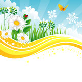 Summer background with grass. Vector illustration of Summer background with grass stock illustration