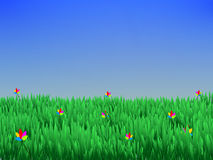 Summer a background with grass and blue sky.Vector. Art Stock Image