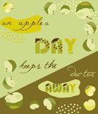 Green and yellow apple summer background with text Royalty Free Stock Photo