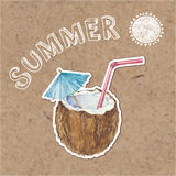 Summer background.  Hand drawn  illustration on kraft back Royalty Free Stock Images