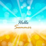 Summer background with Hello summer text. Vector illustration royalty free illustration