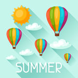 Summer background with hot air balloons. Image for advertising booklets, banners, flayers, article, social media Stock Images