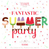 Summer background with ice cream typography Royalty Free Stock Images