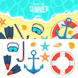Summer background and icons Stock Image