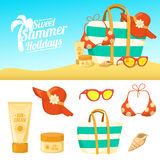Summer background and icons Royalty Free Stock Photo