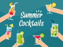 Summer background illustrations with various healthy juice and cocktails in hands stock illustration
