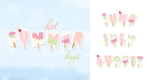 Summer background. June, july, august. Ice cream cartoon letters in pastel colors on blue sunny sky. Vector Stock Photography