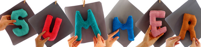 Summer background from knitted alphabet Stock Images