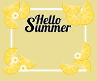 Summer background with lemon and tiny flowers. There is word `Hello Summer`. Illustration use for web banner, poster or flyer. Stock Photos