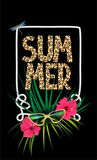 Summer background with leopard print letters, rope frame, palm tree branches and flowers. Vector illustration Stock Images