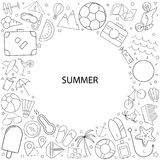Summer background from line icon. Linear vector pattern Royalty Free Stock Photography