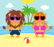 Summer  background with lions Stock Photo
