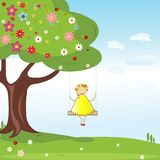 Summer background with little girl Royalty Free Stock Photo