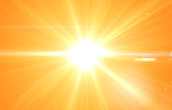 Summer background with a magnificent sun burst. With lens flare. Hot with space for your message Royalty Free Stock Images