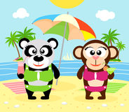 Summer  background with monkey and panda Stock Photos