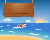 Summer background with motorboat and wooden sign. Royalty Free Stock Photography