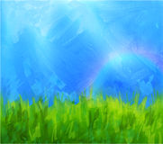 Summer background with paint daubs. Vector summer background with blue sky and meadow with paint daubs and gouache texture Stock Photography