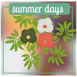 Summer background with palm tree leafs, flower and blur colorful background Royalty Free Stock Images
