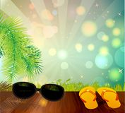Summer background with palm trees Stock Photos