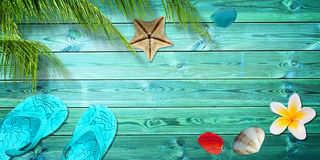 Summer background with palm trees flip flops and sea shells Stock Image