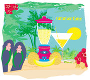 Summer background with palm trees  and fruity drink Stock Photo