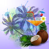 Summer background with palm trees and juice. Summer background with palm trees and cocktail glass on abstract inkblot splash with straw coconut and flower Stock Photo