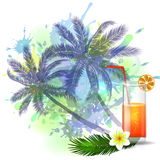 Summer background with palm trees and juice. Summer background with palm trees and cocktail glass on abstract inkblot  splash with straw and flower Royalty Free Stock Images