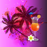 Summer background with palm trees and juice. Summer background with palm trees and cocktail glass on abstract inkblot splash with straw and flower Royalty Free Stock Image
