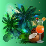 Summer background with palm trees and juice. Summer background with palm trees and cocktail glass on abstract inkblot splash with straw and flower Stock Photo
