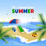 Summer background, palm trees, sea, beach and confetti Stock Image