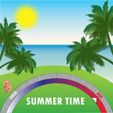 Summer background with palm trees and the sea and the scale of t Royalty Free Stock Images