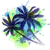 Summer background with palm trees. Silhouette on inkblots Stock Photos
